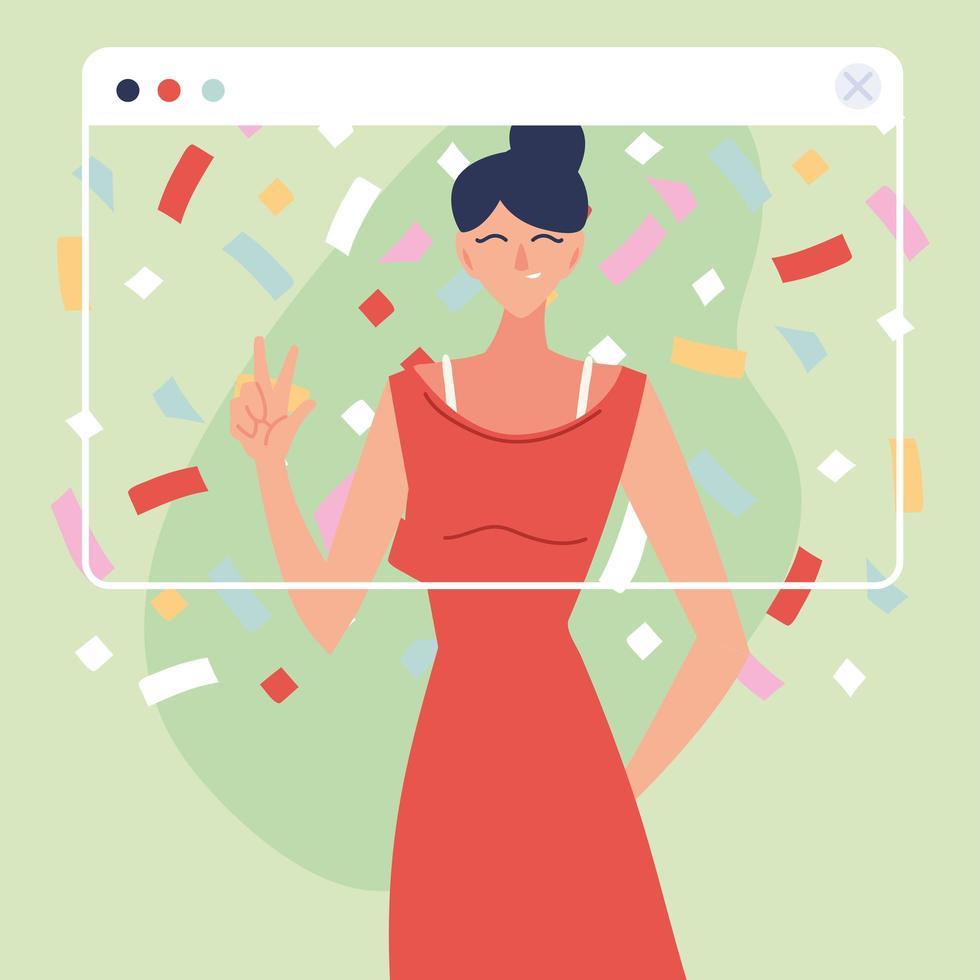 mujer de fiesta virtual con vestido y confeti vector