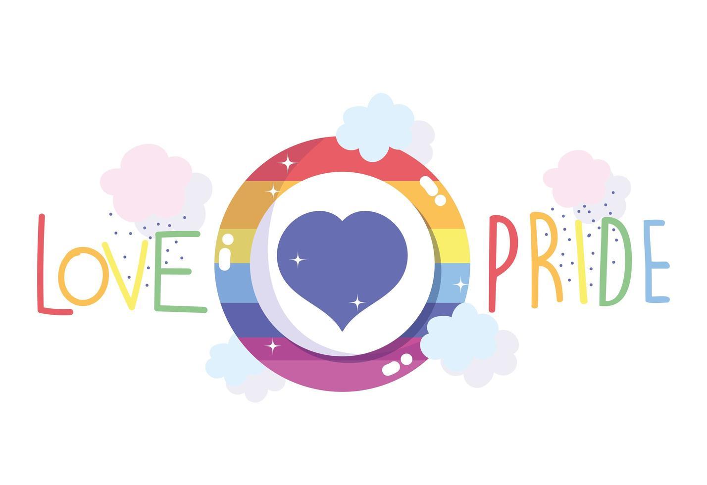 amor orgullo diseño de arco iris vector