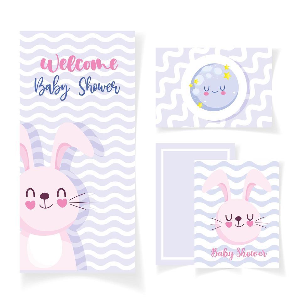 tarjeta de baby shower con conejo y luna vector
