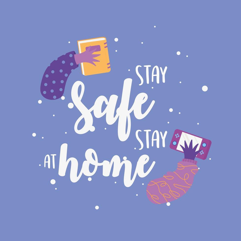 mensajes de coronavirus. mantente a salvo, quedate en casa vector