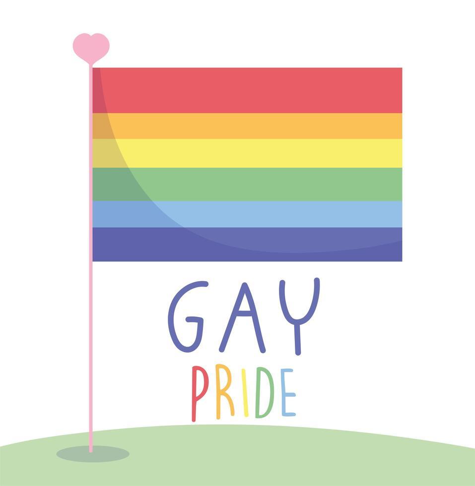 feliz dia del orgullo gay con bandera arcoiris vector