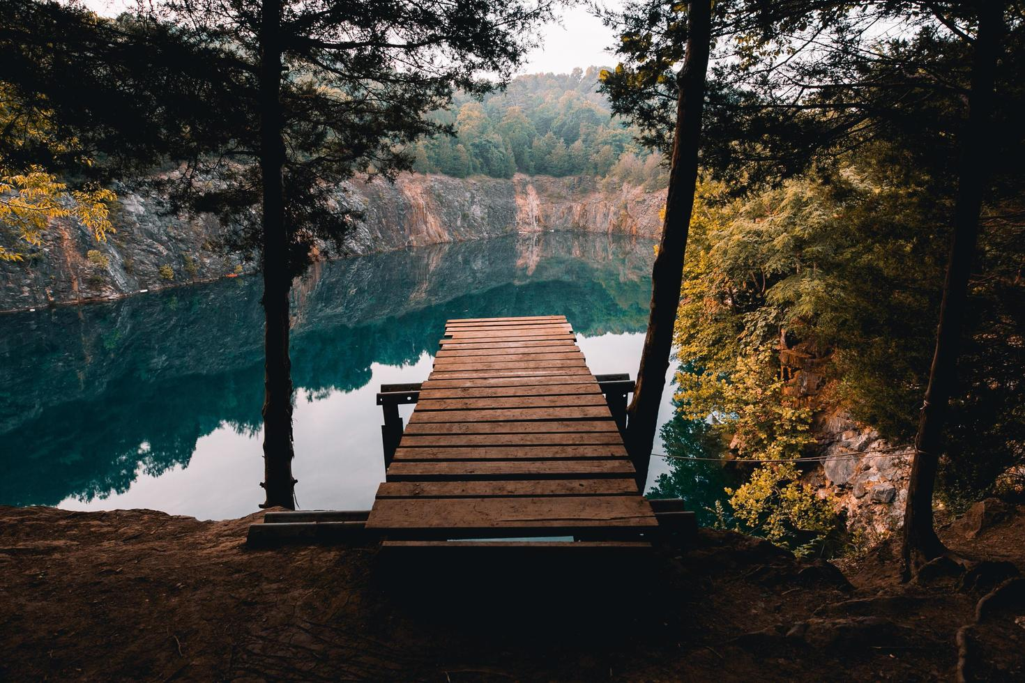 Wooden dock on a cliff photo