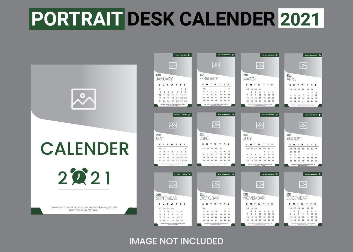 conjunto de plantillas de calendario 2021 blanco y verde vector