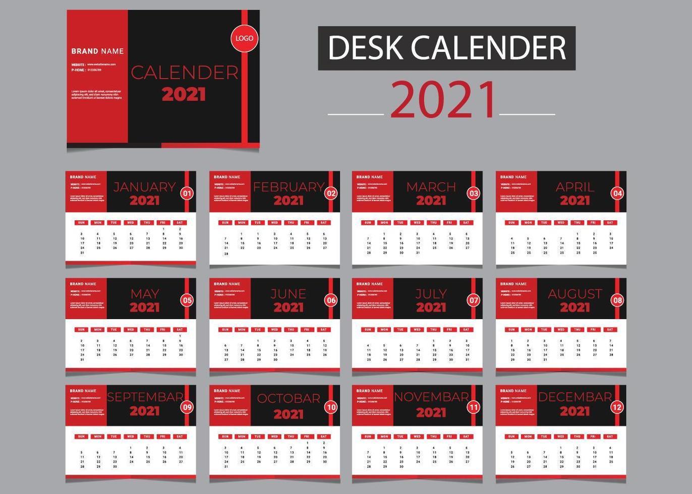 2021 calendario conjunto de plantillas en rojo, blanco y negro vector