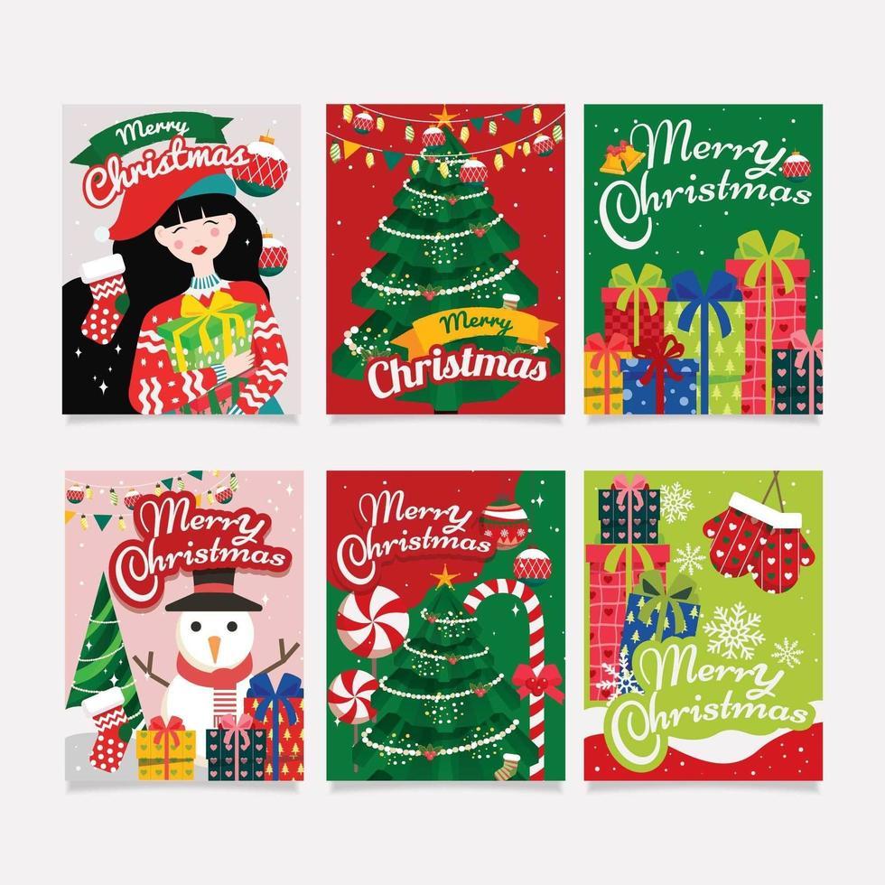 colección de tarjetas y saludos de navidad vector