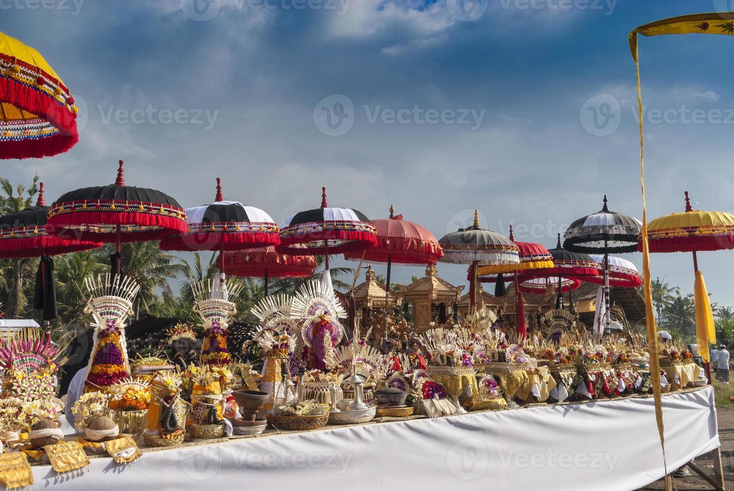 Melasti Ceremony Bali, Colorful Offerings and Umbrellas, Indonesia photo