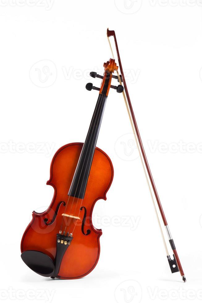 Wood violin isolate on white background. photo