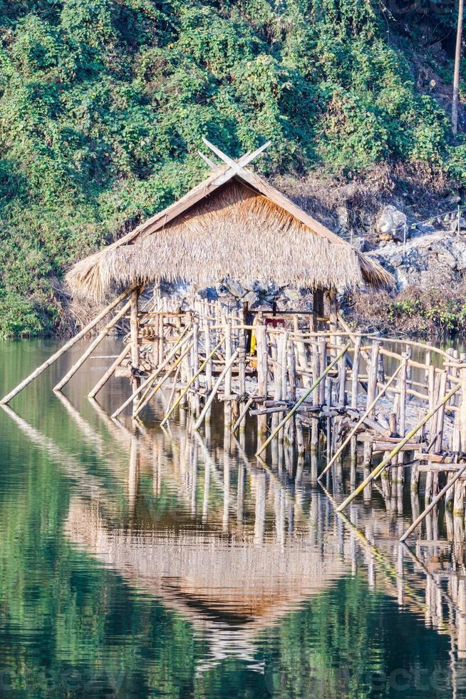 structure of longest wooden bridge (bamboo bridge) photo