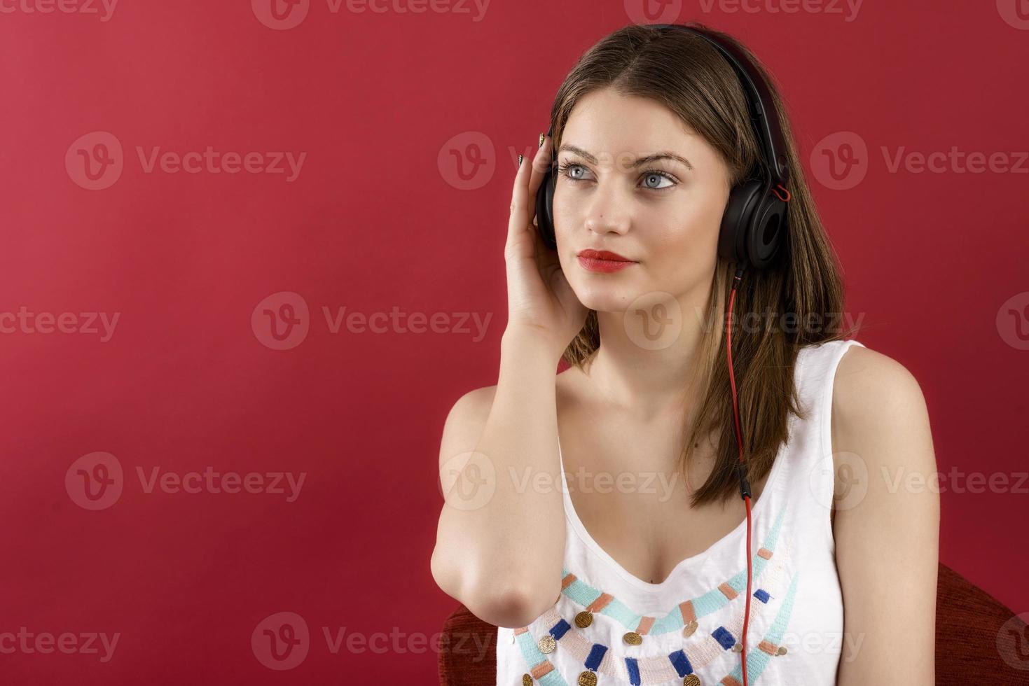 Headphones music woman dancing listening to music on mp3 player photo