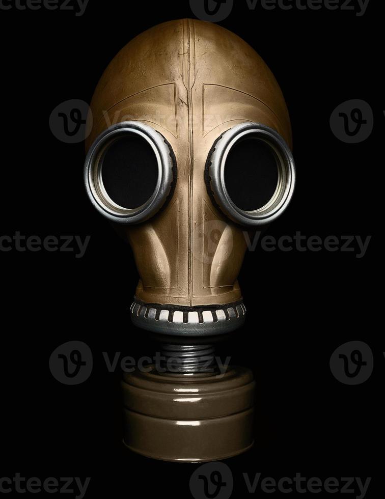 Gas mask isolated on black photo