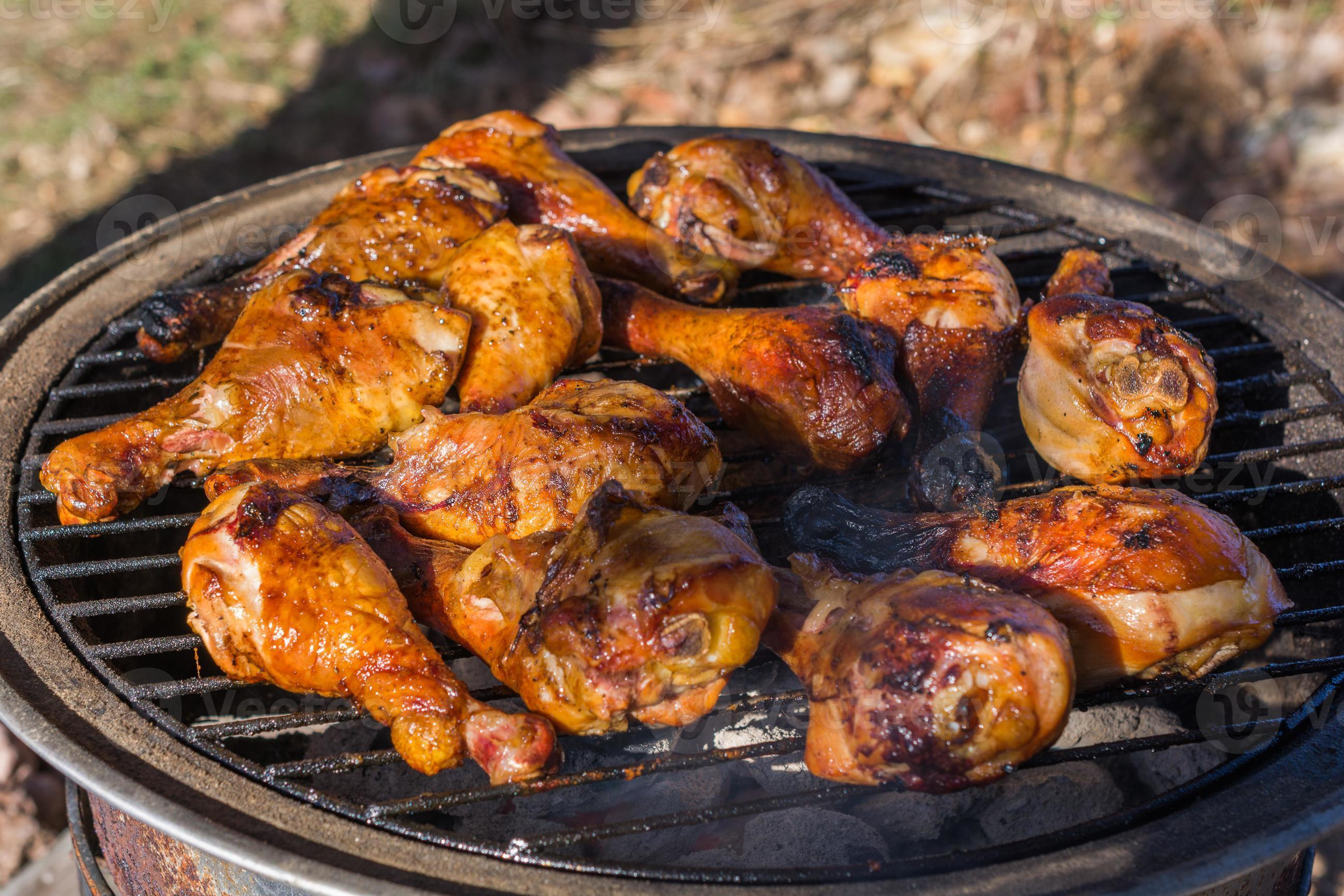 Grilled Chicken Legs On Bbq Grill Stock Photo