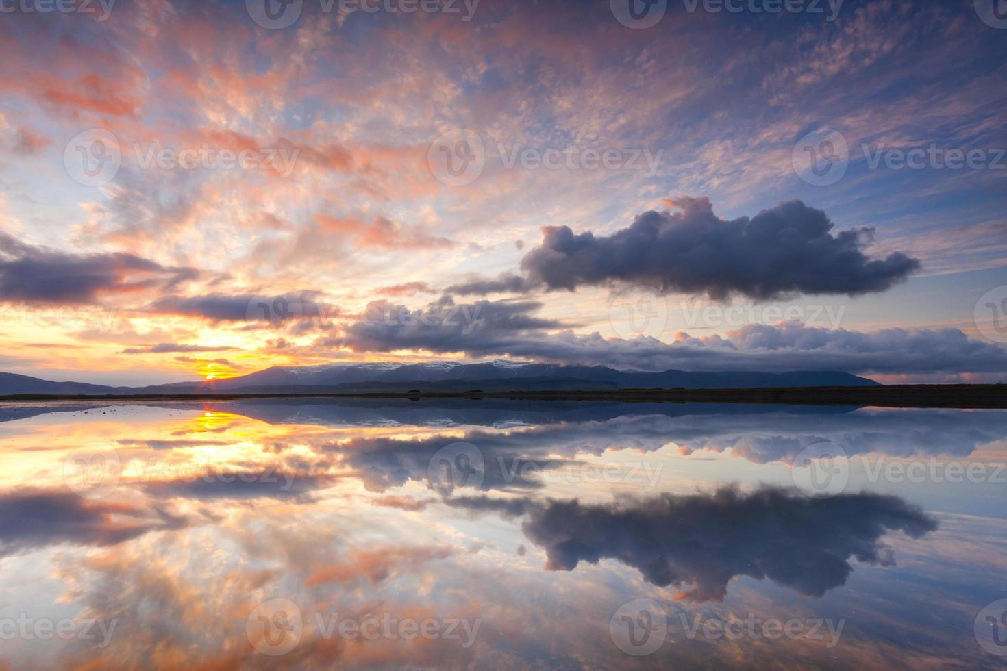 Beautiful reflections on sunset in Iceland photo