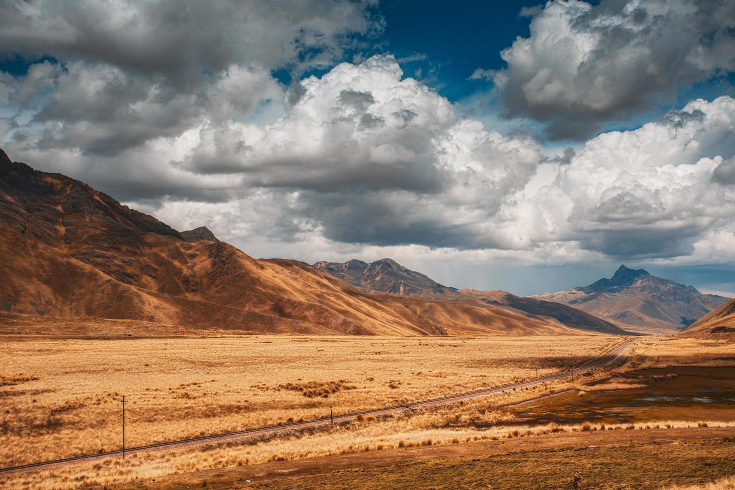 Desert mountains under blue sky photo