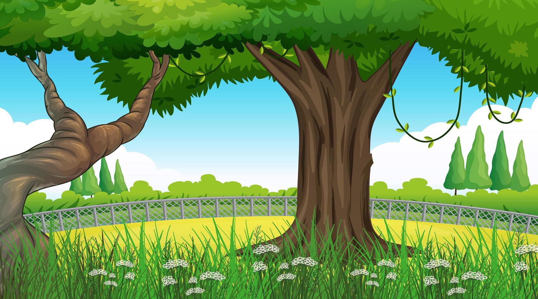 paisaje de naturaleza de fondo vacío con árboles vector