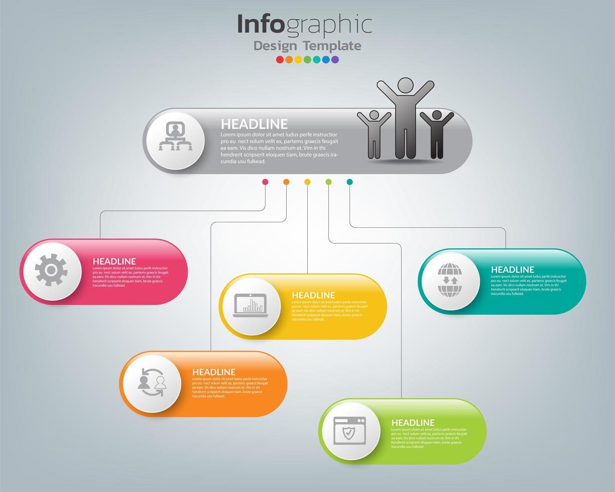 Cuadro infográfico abstracto con elementos e iconos. vector