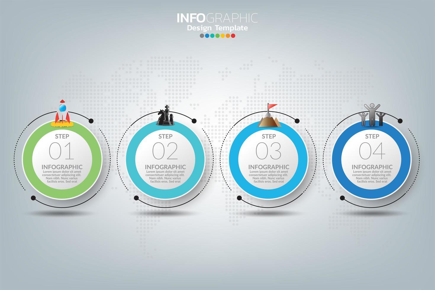 plantilla de infografía con iconos de marketing digital vector