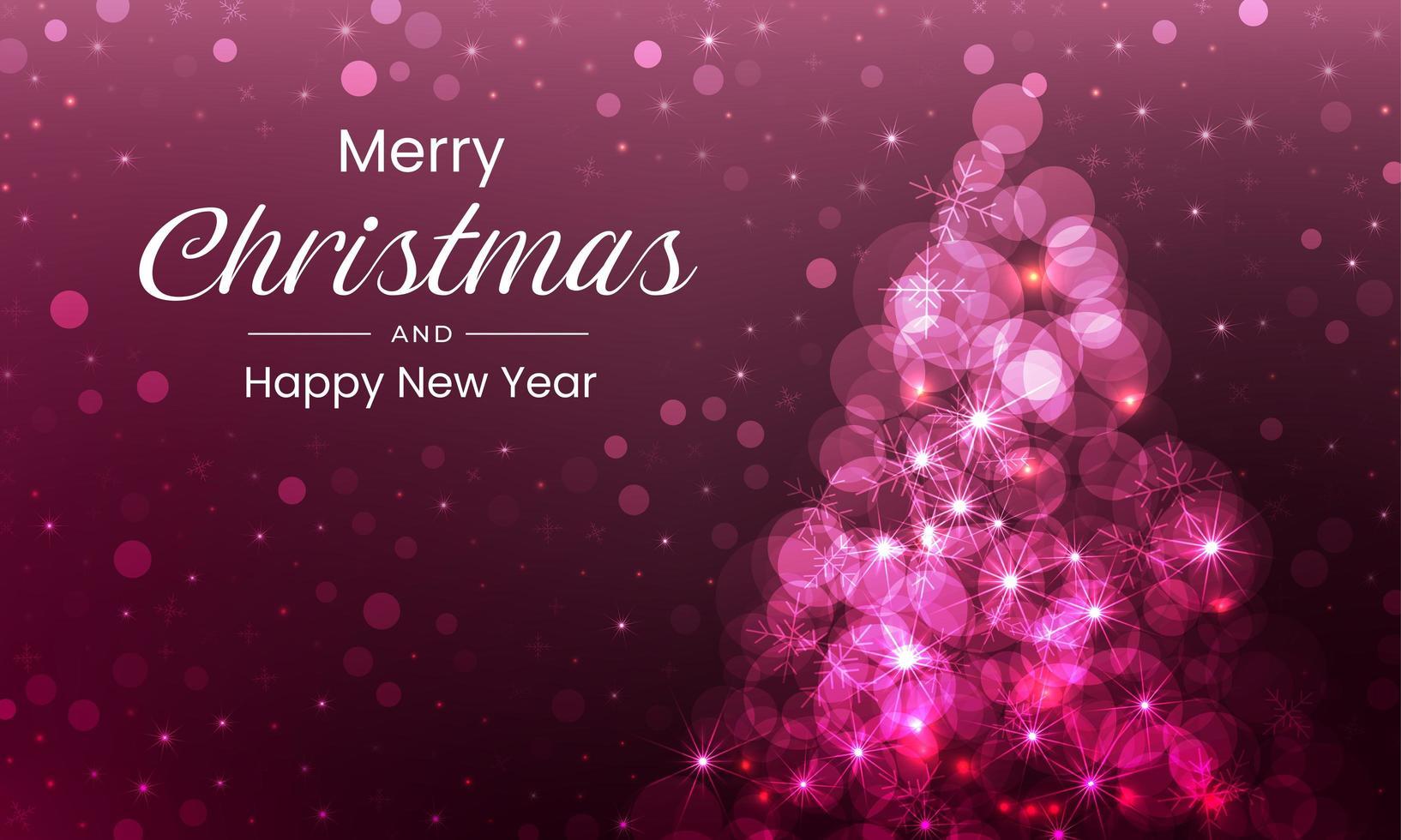 feliz navidad con arbol rosa brillante vector