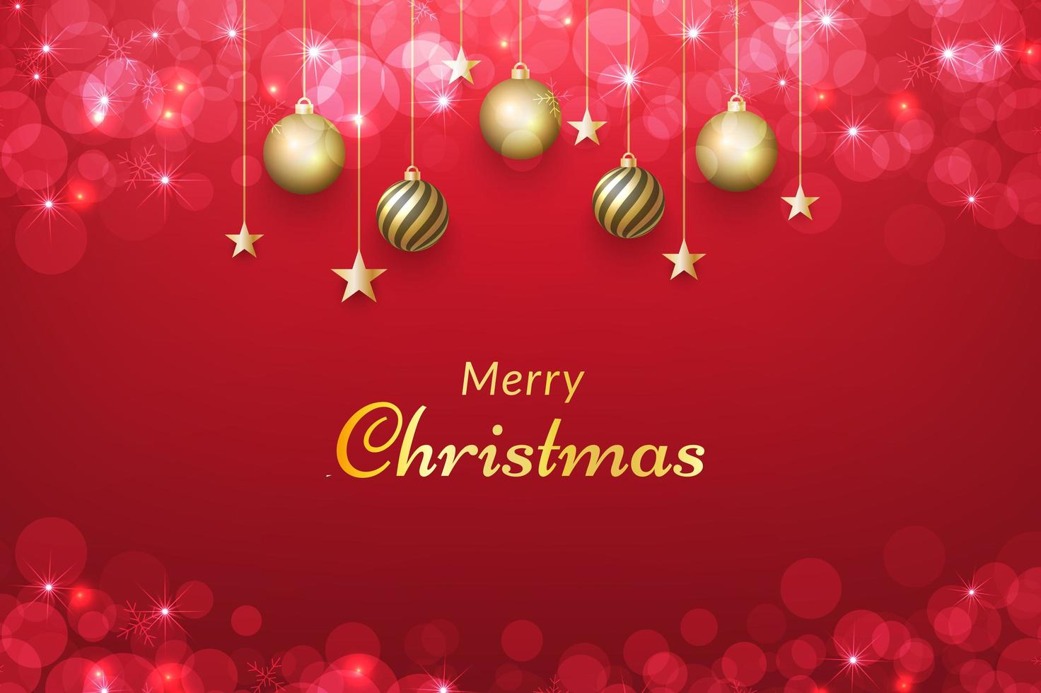 Red Christmas background with hanging ornaments vector