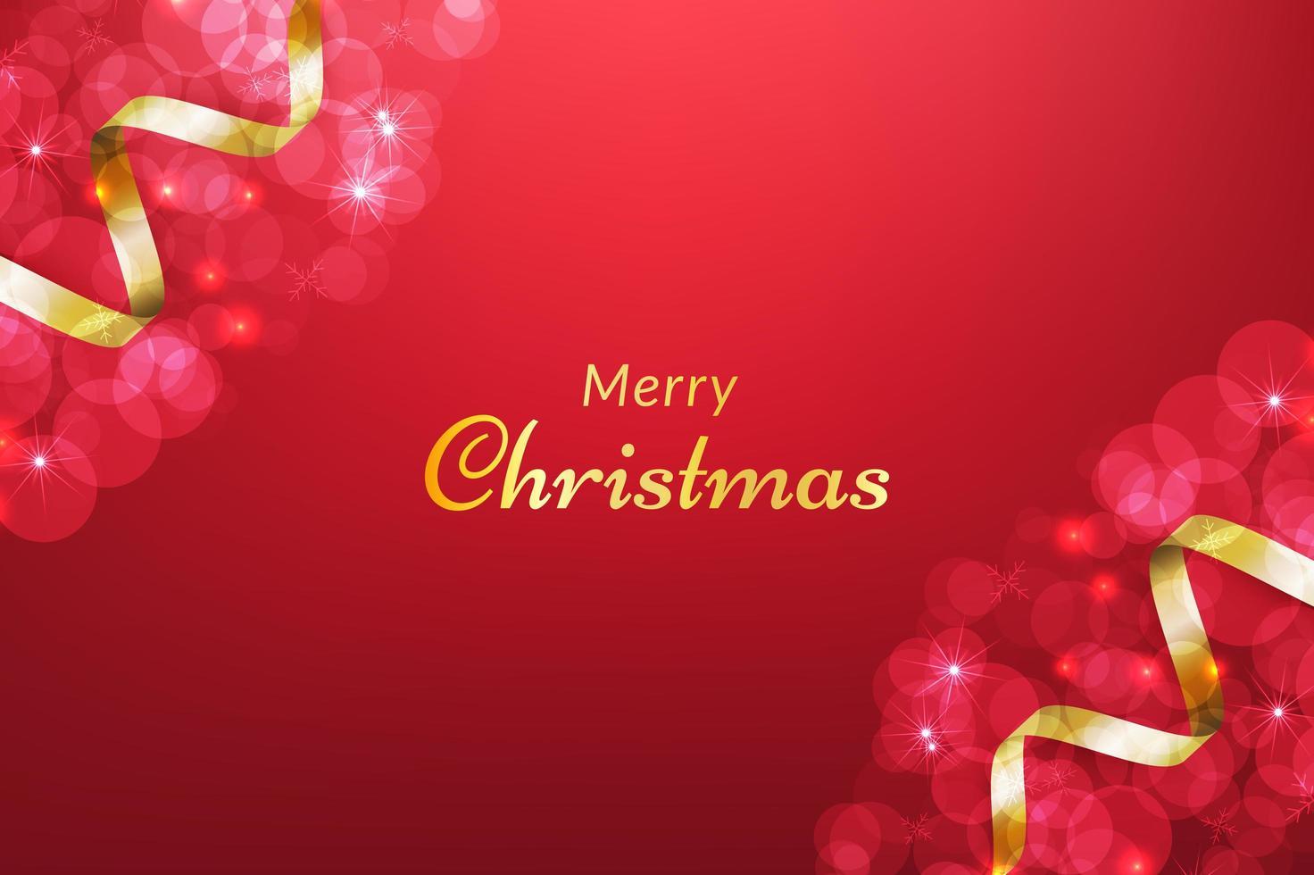 fondo rojo feliz navidad con cinta dorada vector
