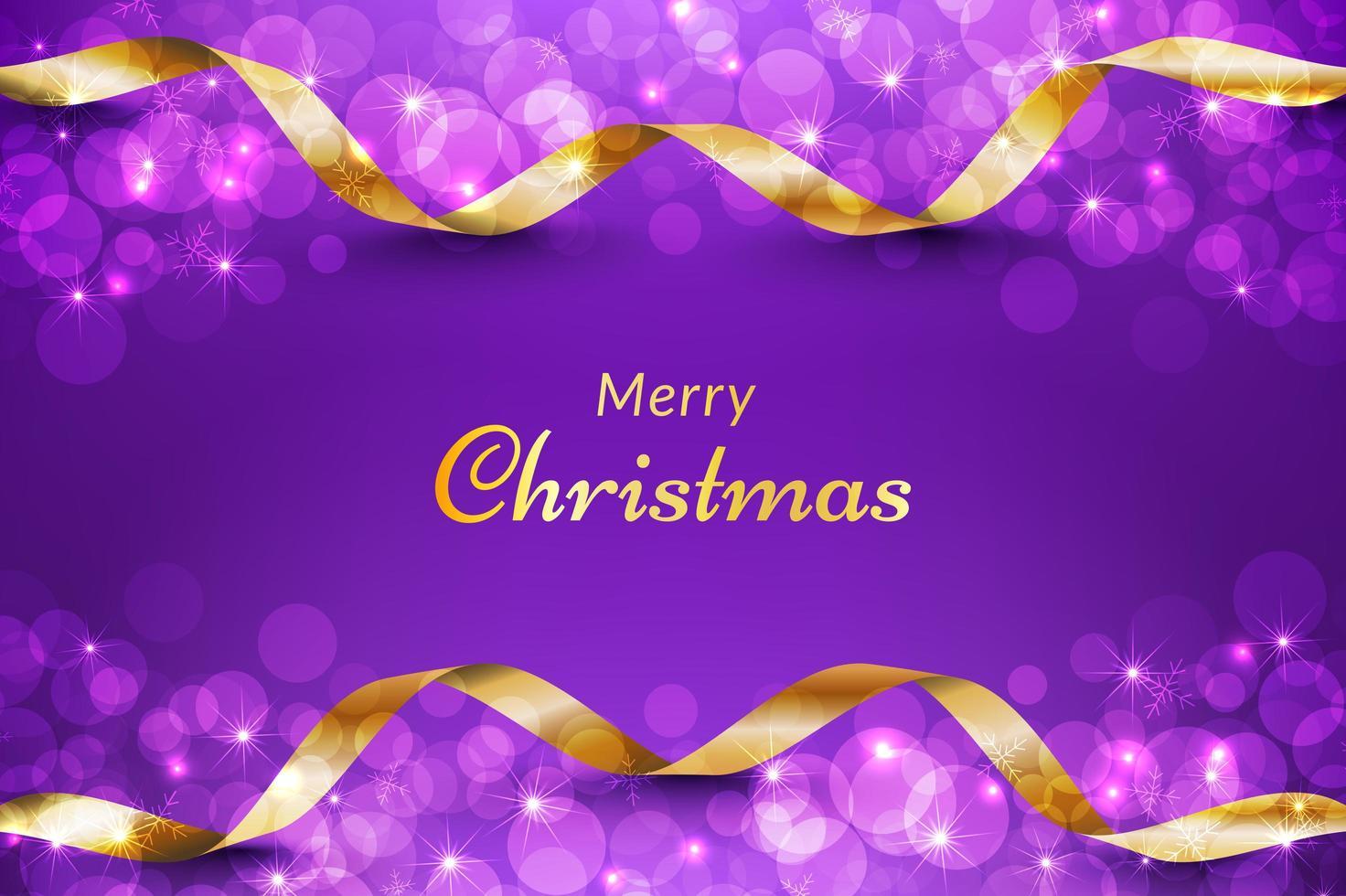 fondo de navidad morado con cinta dorada vector