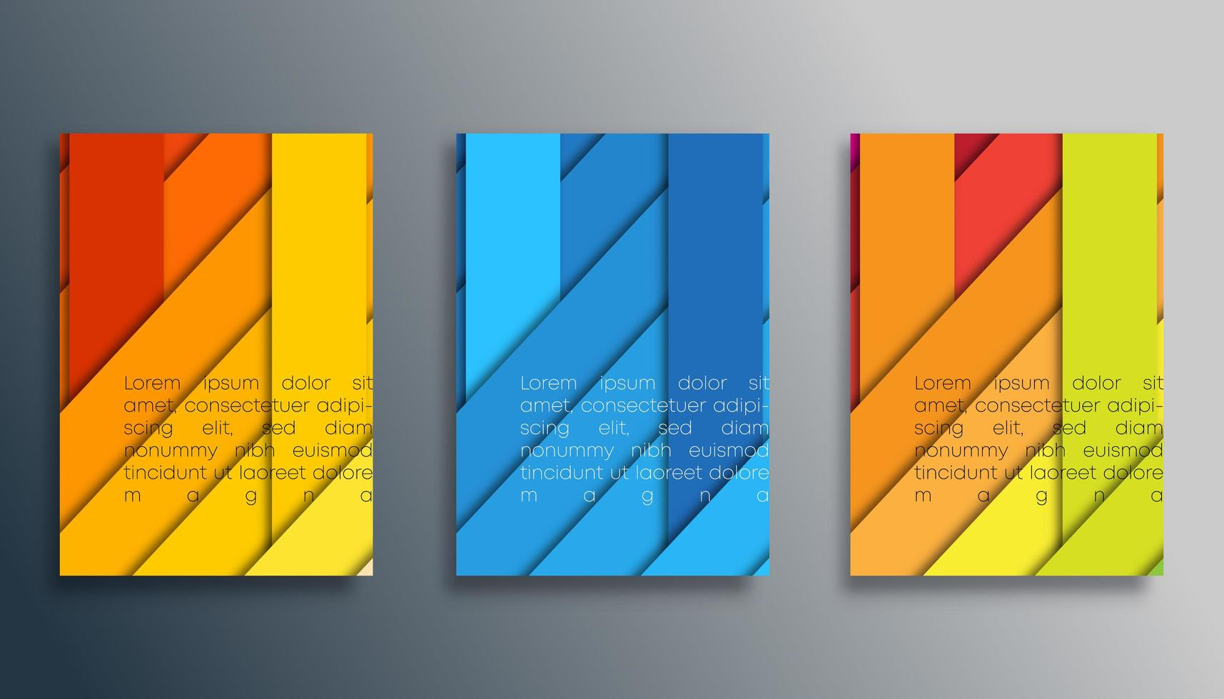 Colored 3d striped cover template set vector