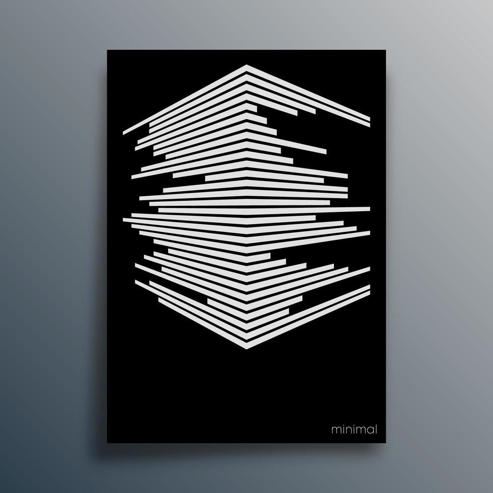 tipografía geométrica abstracta con líneas de perspectiva vector