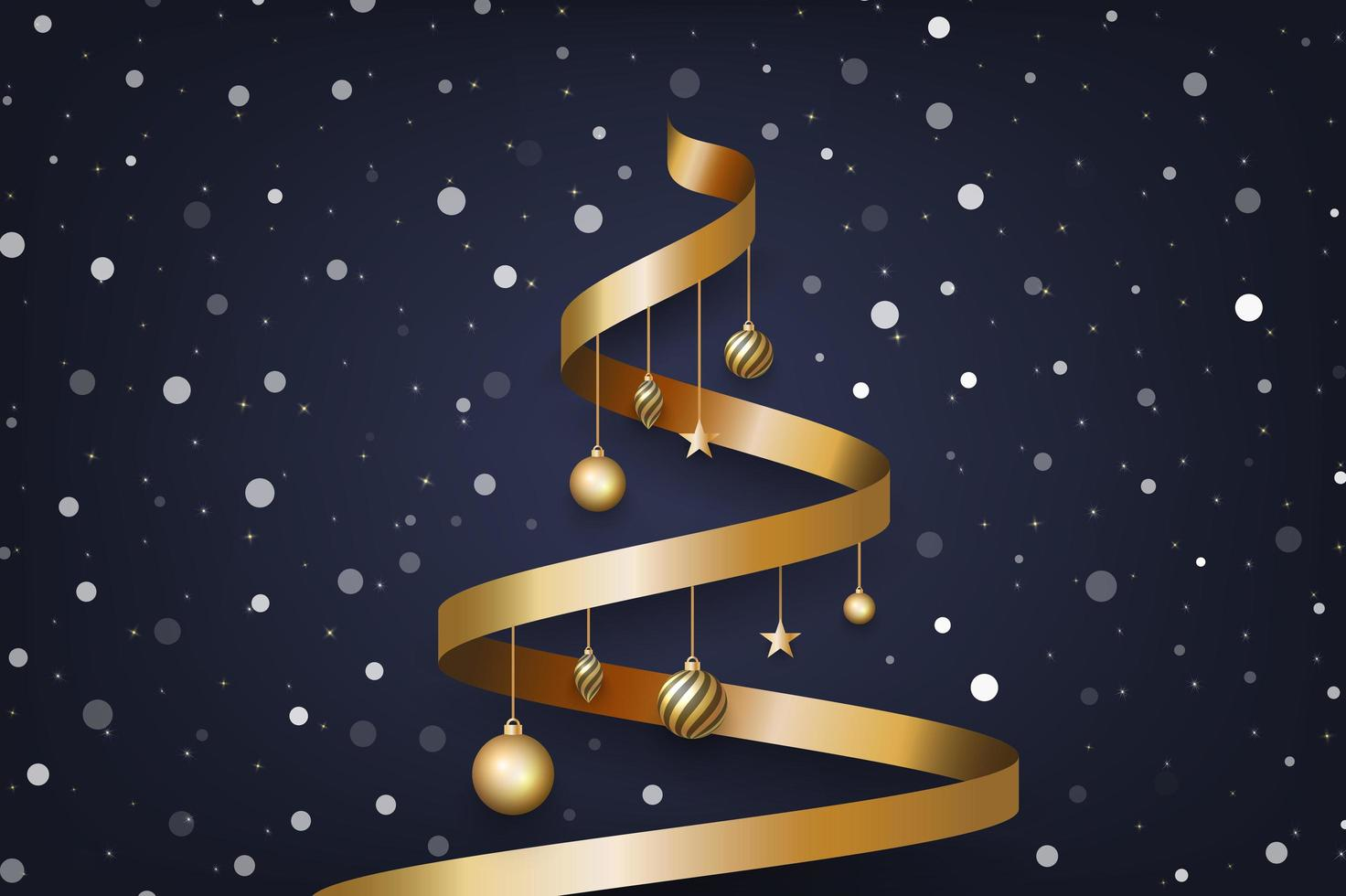 Christmas background with tree made of golden ribbon and snow vector