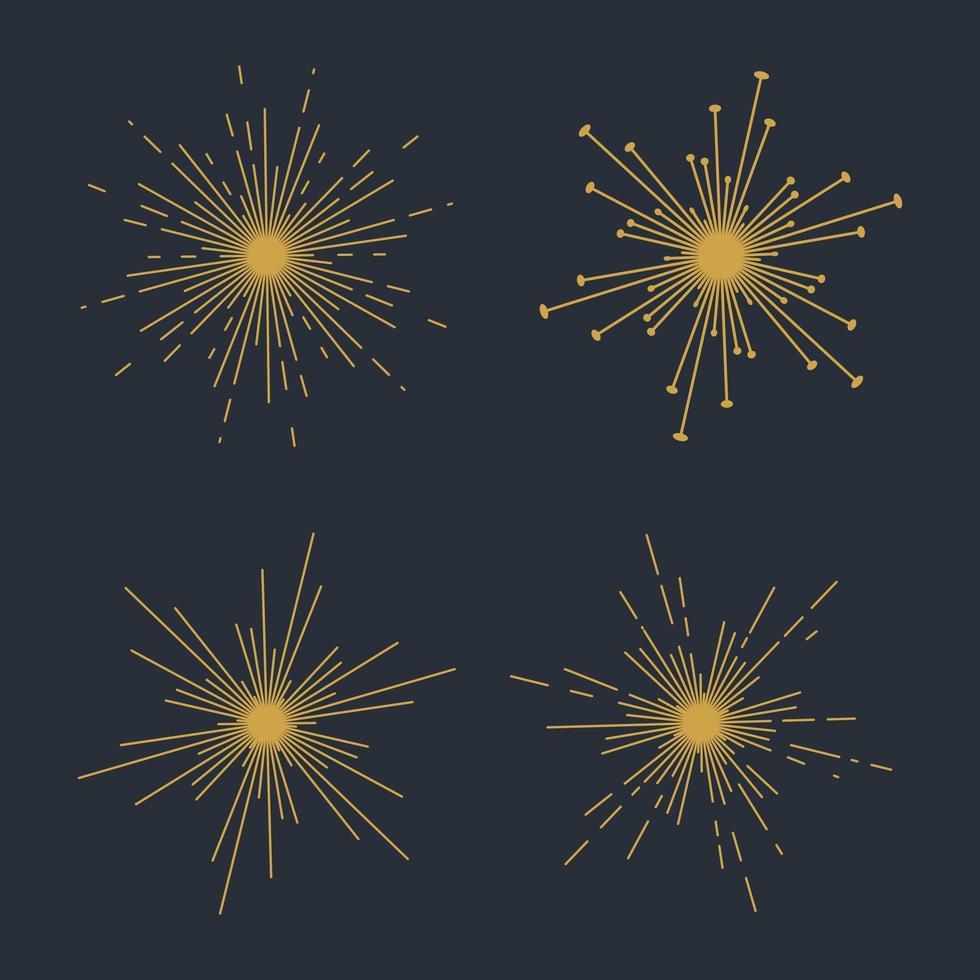Set of four sunbursts vector