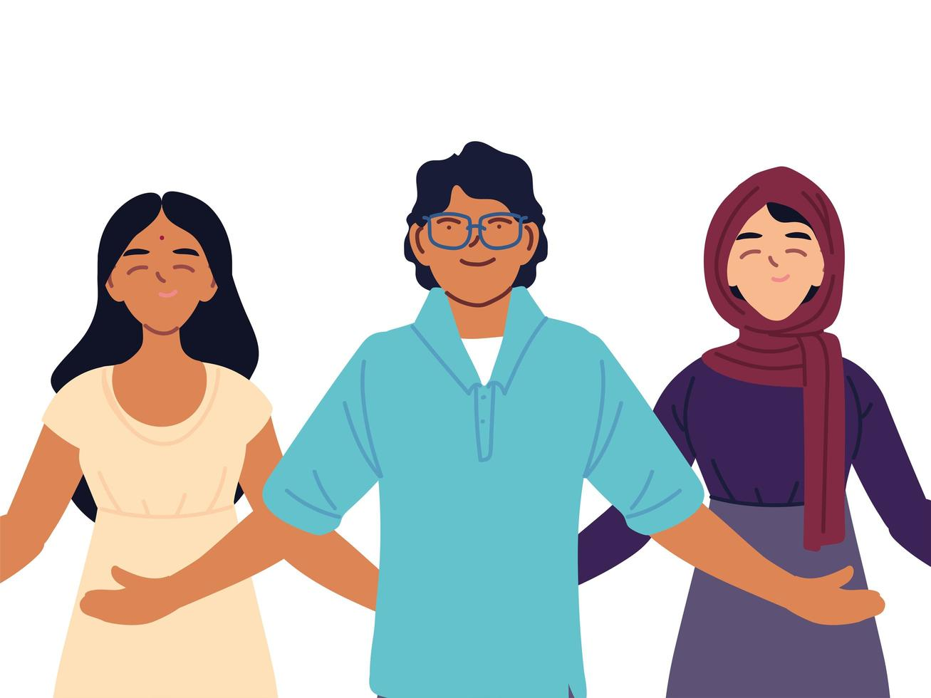 Portrait of diverse people together vector