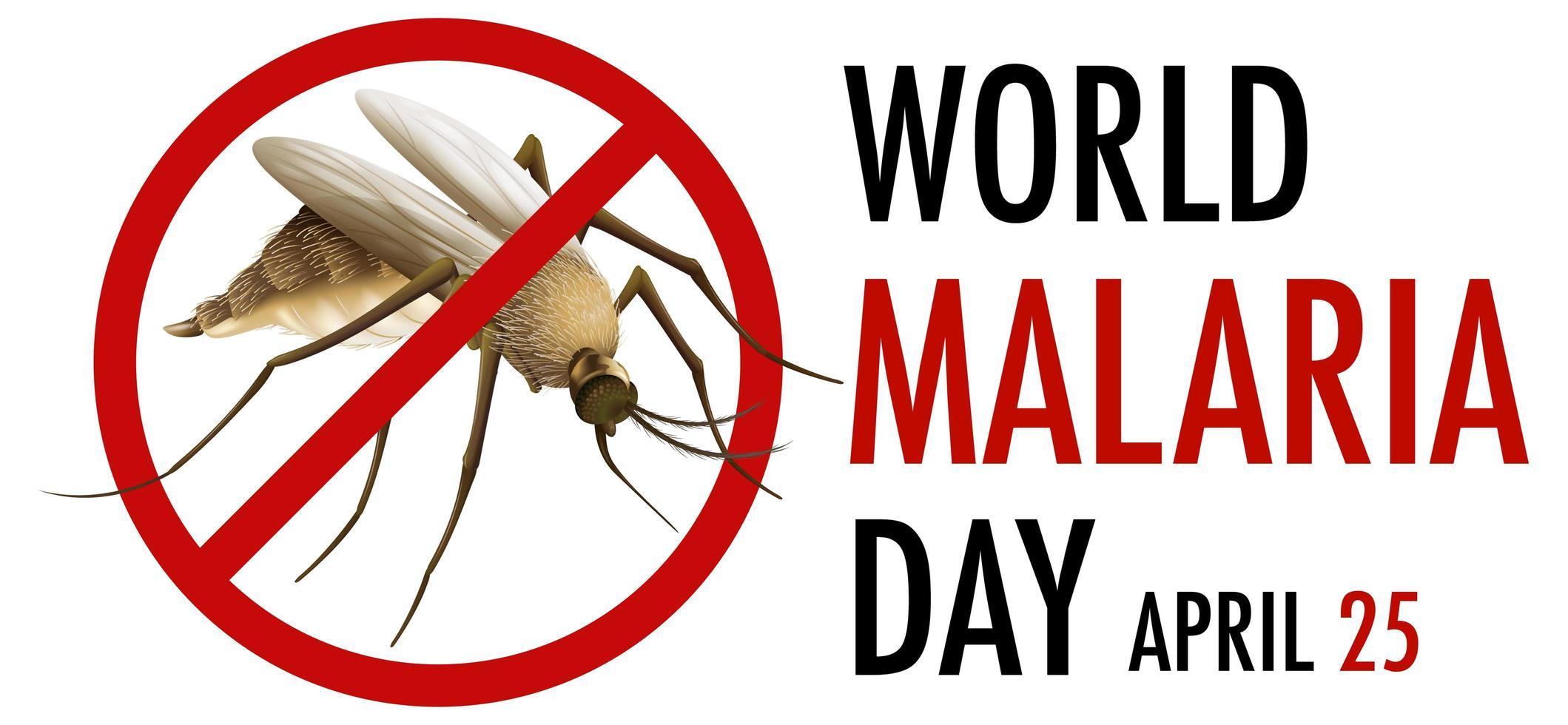logotipo del día mundial de la malaria o pancarta con letrero de mosquito vector