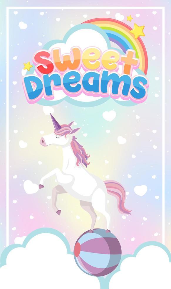Unicorn icon on magic  pastel background vector