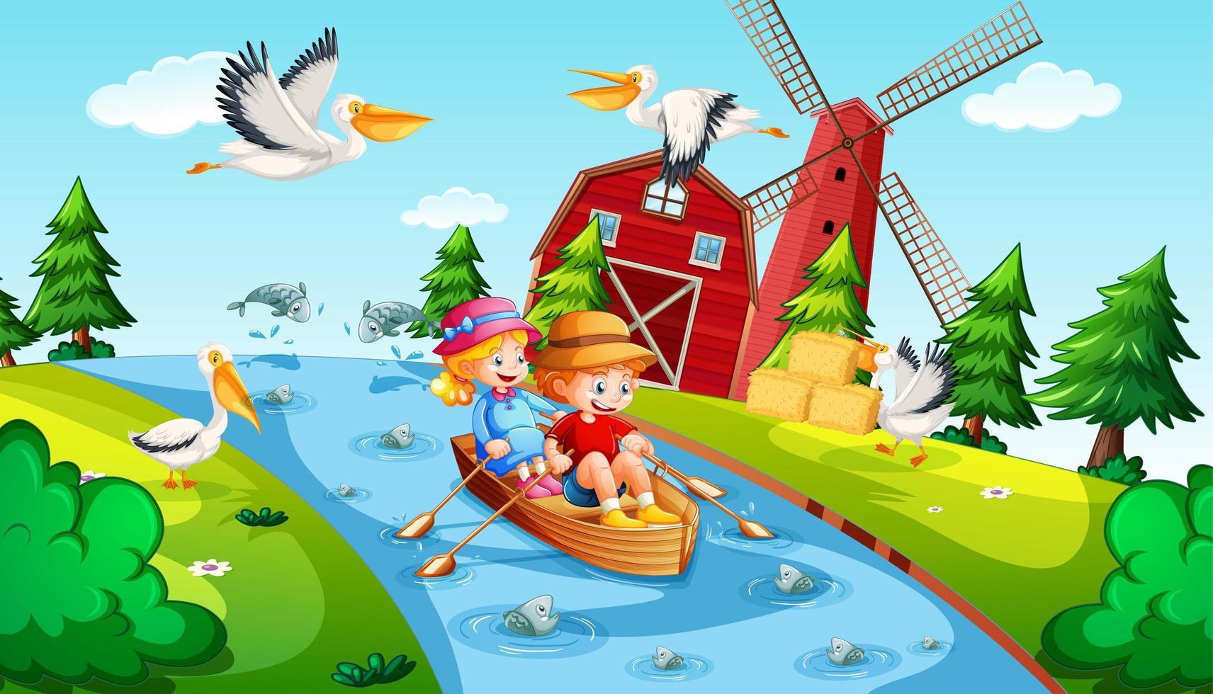 Los niños remar en el bote en la escena de la granja del arroyo. vector