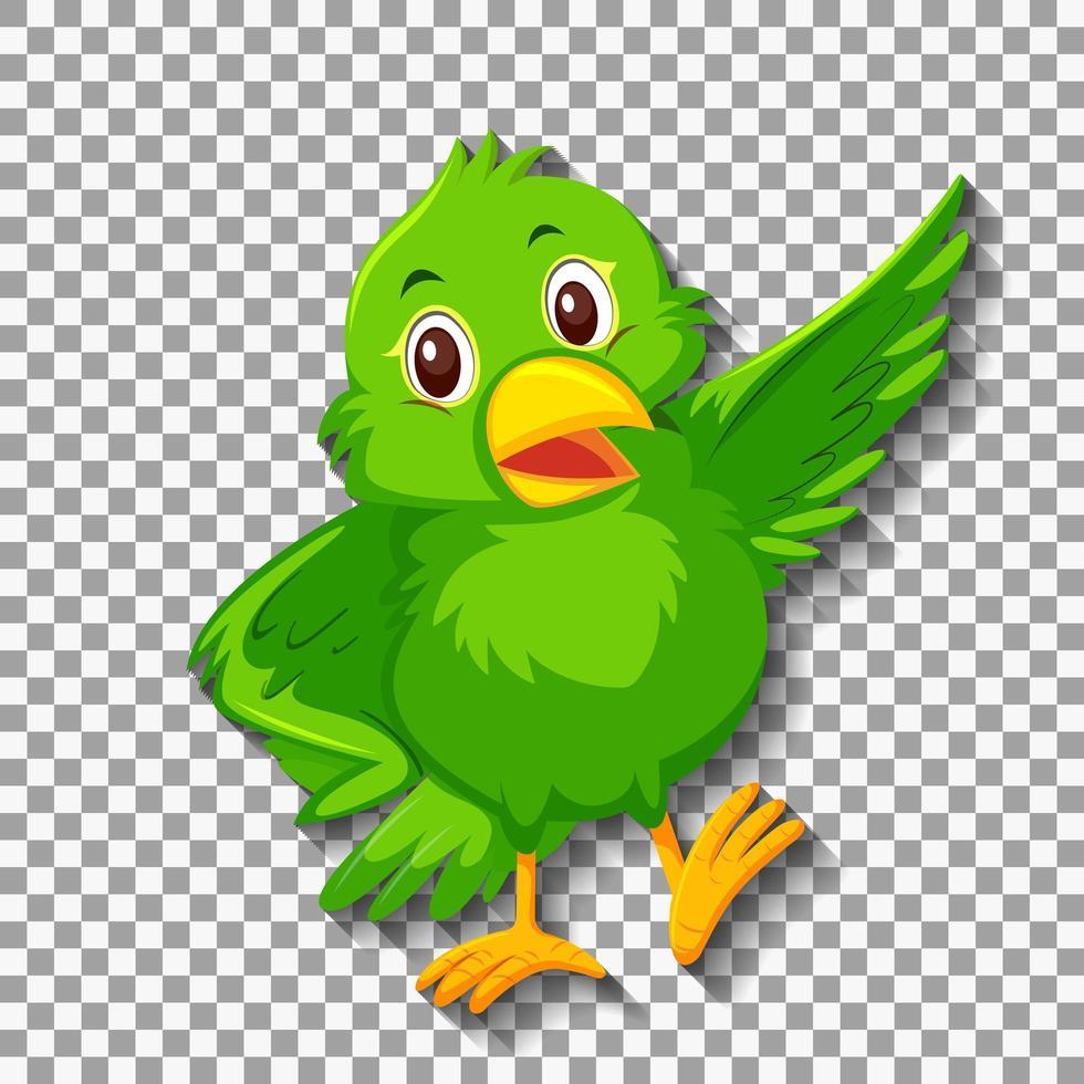 personaje de dibujos animados lindo pájaro verde vector