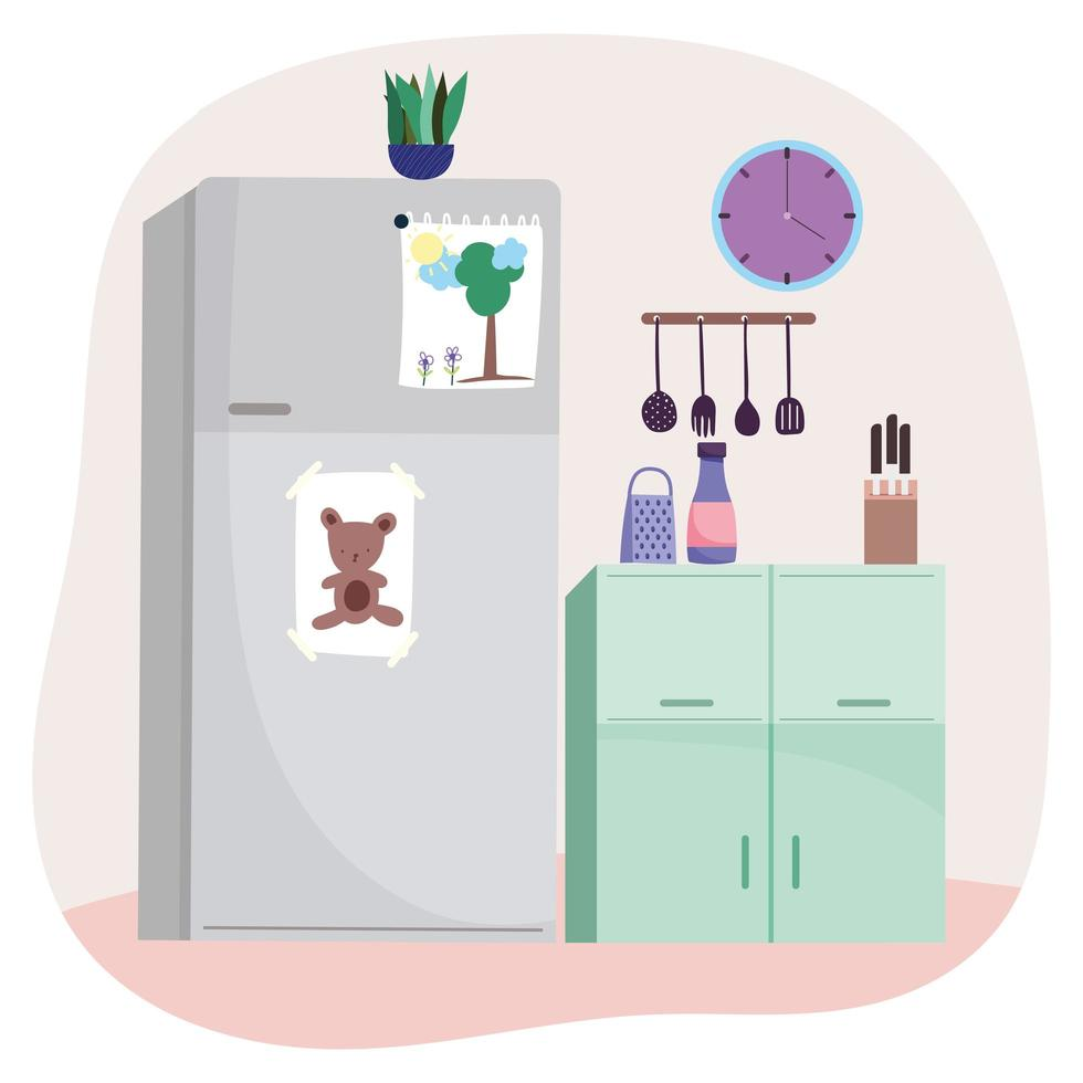 interior de cocina con electrodomésticos vector