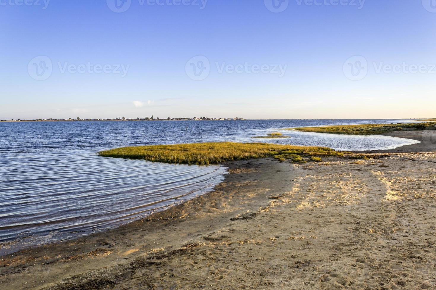Algarve Cavacos beach twilight landscape at Ria Formosa wetlands photo