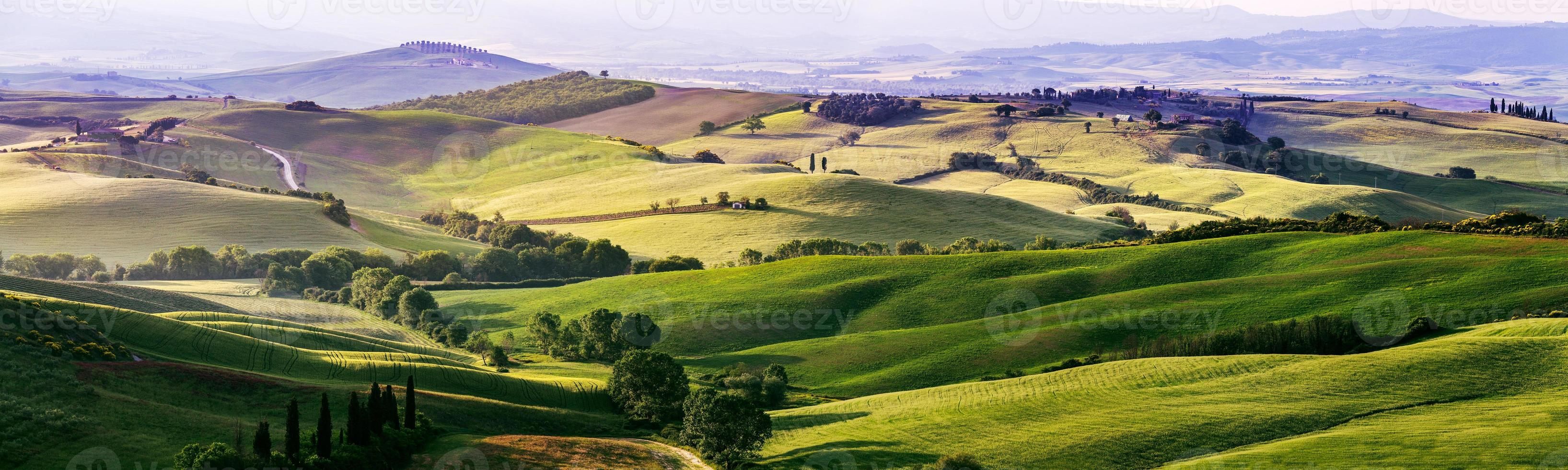 Beautiful and miraculous colors of green spring panorama landsca photo