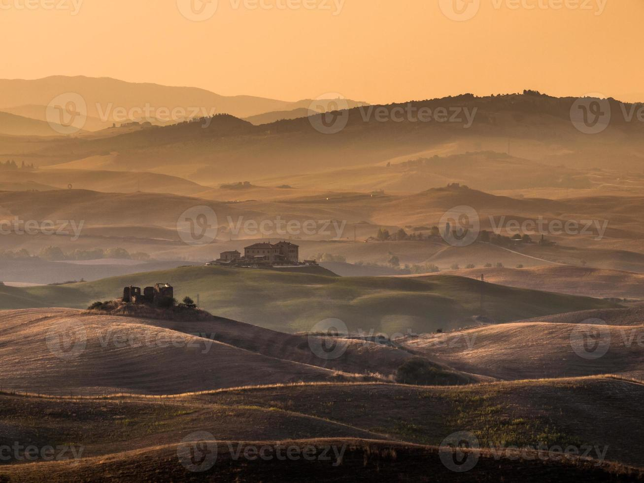 Tuscan Countryside with Hills and Farms photo