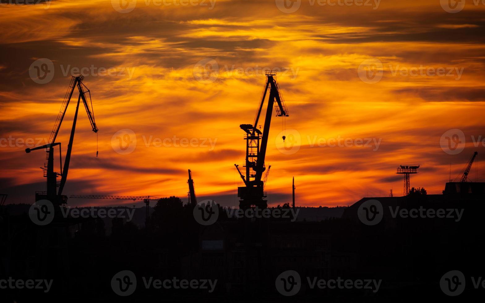 Big shipyard crane at sunset in Gdansk, Poland. photo