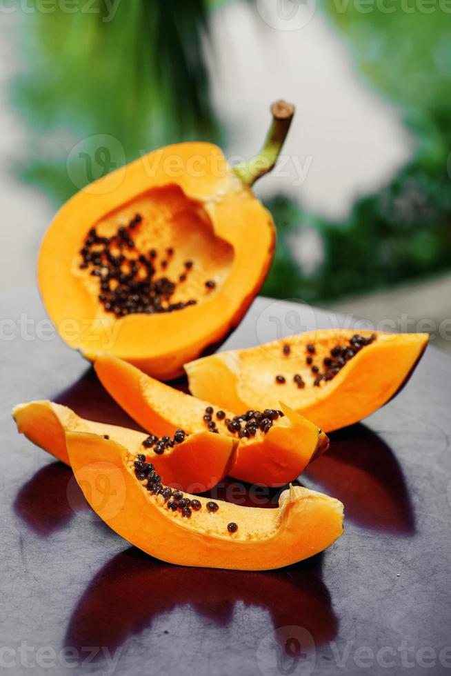 Papaya with seeds photo