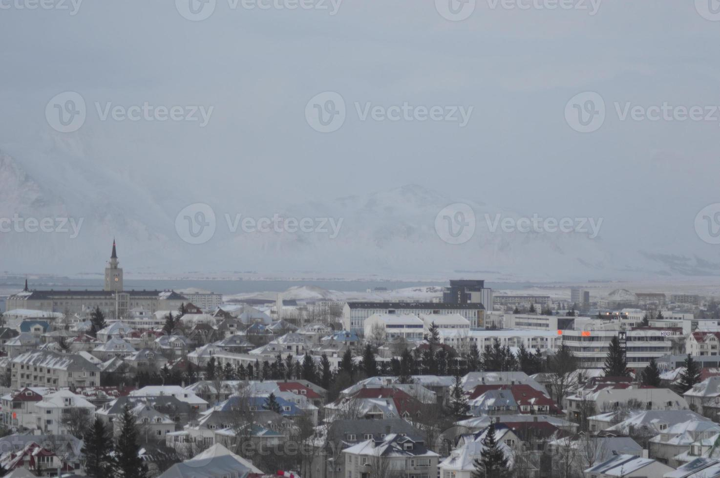 Reykjavik city centre, view from the Perlan in winter, Iceland photo