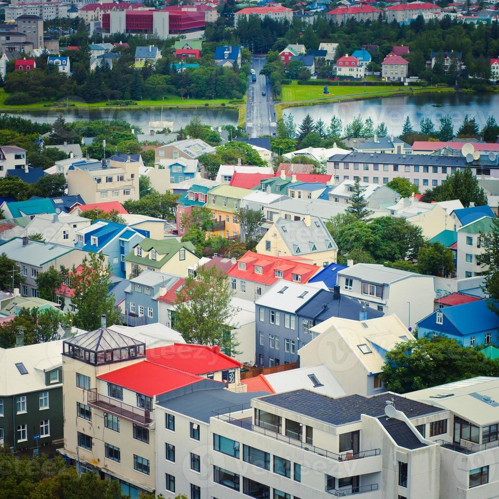 Beautiful wide-angle aerial view of Reykjavik, Iceland harbor and skyline photo