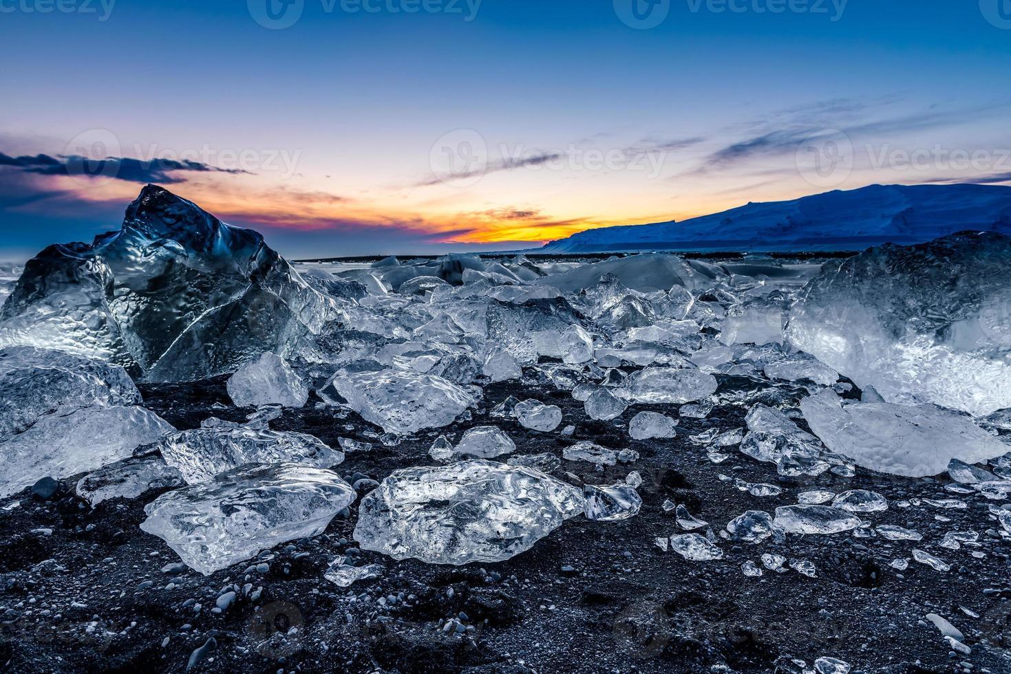 icebergs at jokulsarlon in south Iceland photo