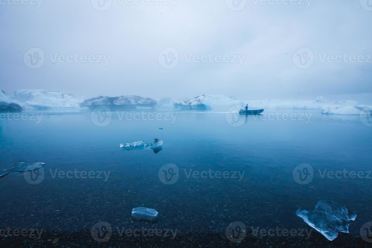 Beatiful vibrant picture of icelandic glacier and glacier lagoon photo
