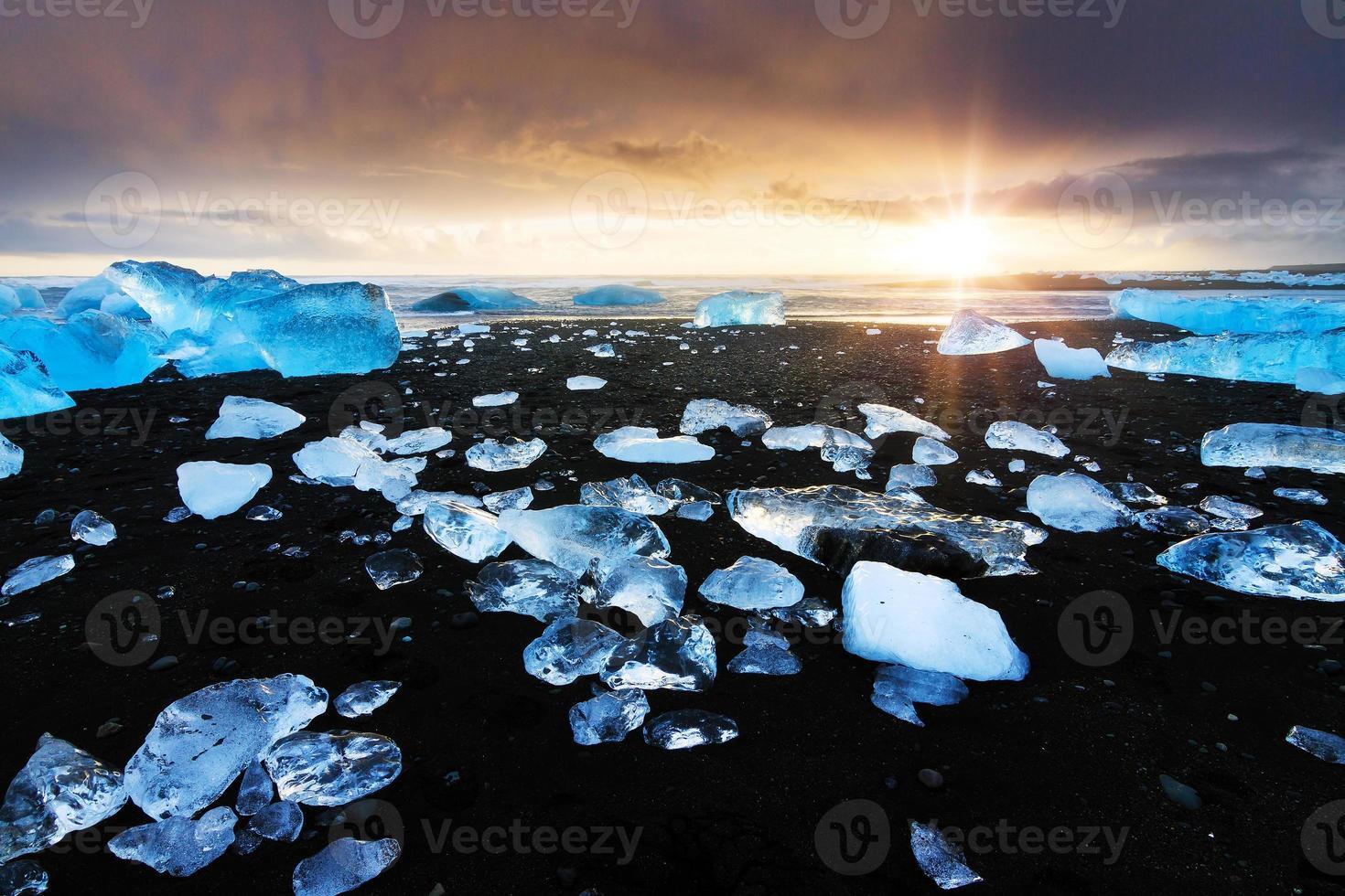 Black sand ice sunset photo