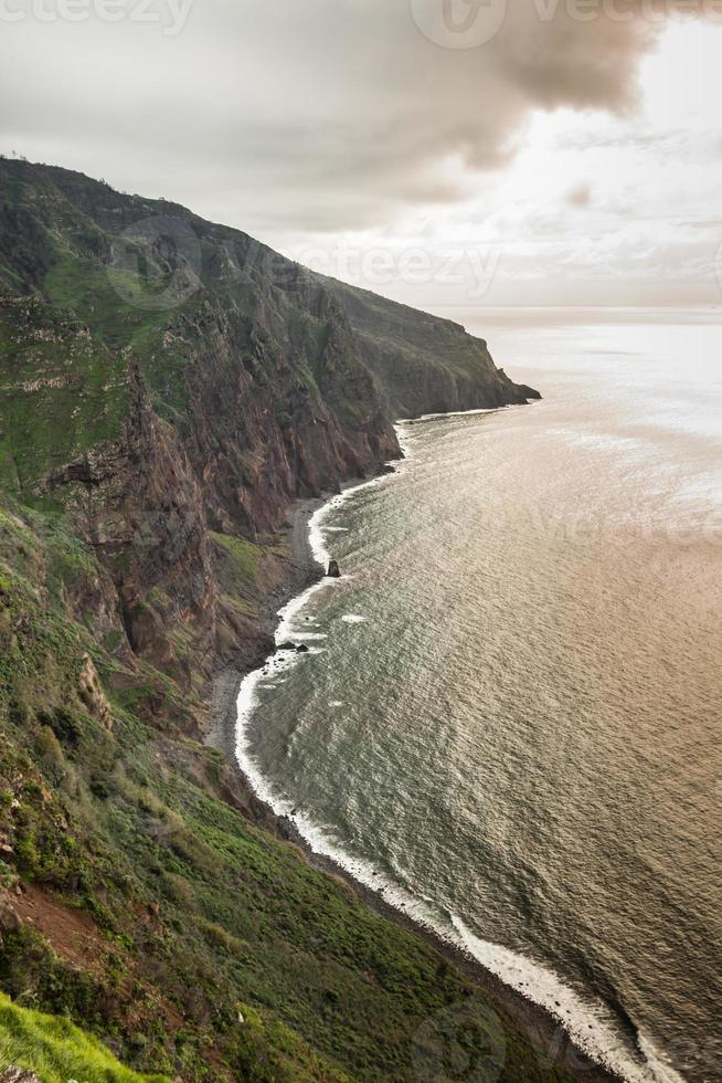 View of beautiful mountains and ocean of Madeira island, Portugal photo