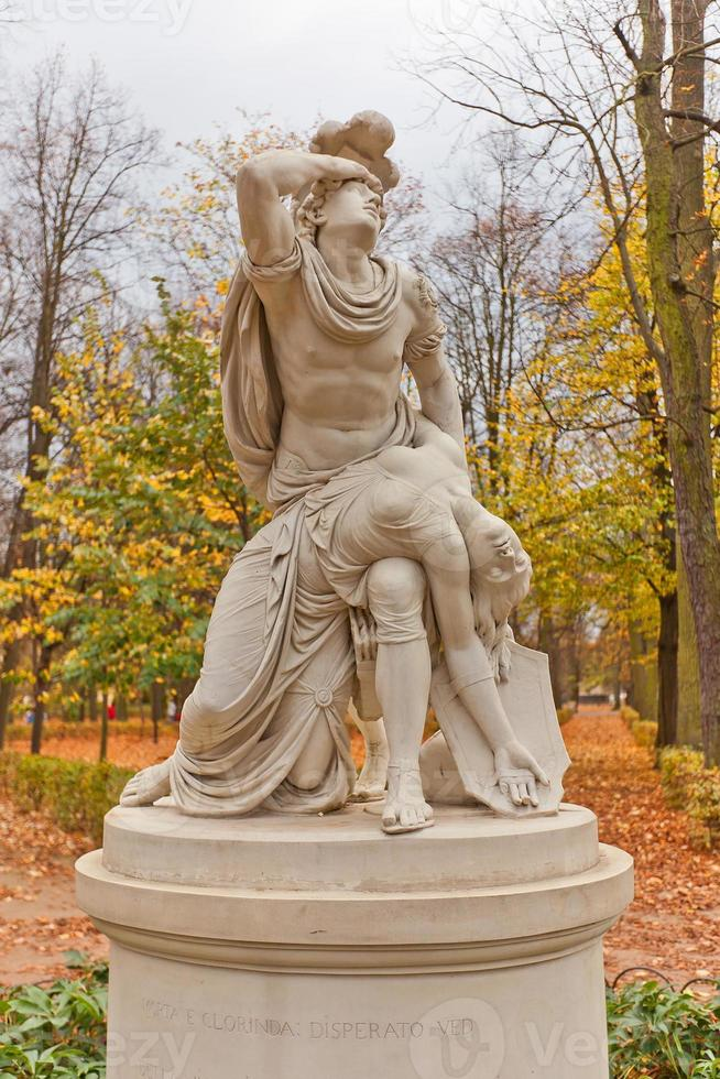 Tancred and Clorinda statue (copy of 1791) in Warsaw, Poland photo