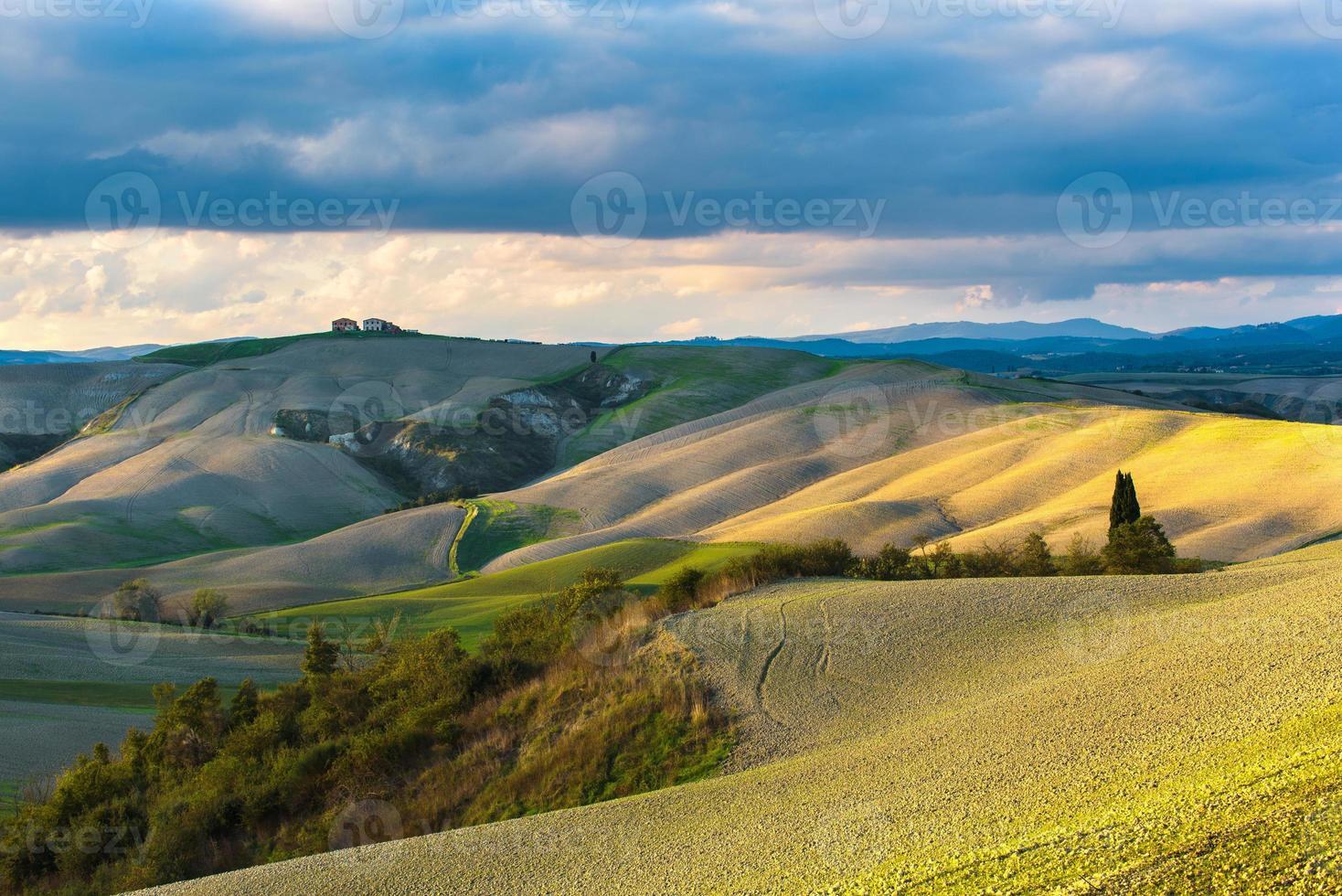 Fantastic sunny fall field in Italy photo