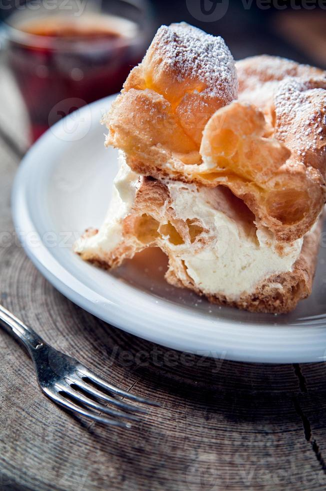 Traditional cream pie with pudding photo