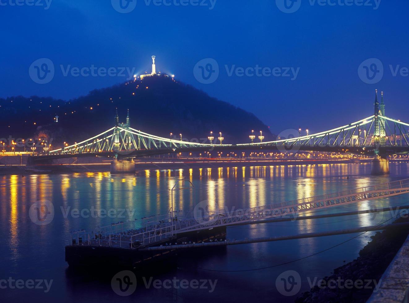 Citadella y puente de la libertad en Budapest por la noche. foto