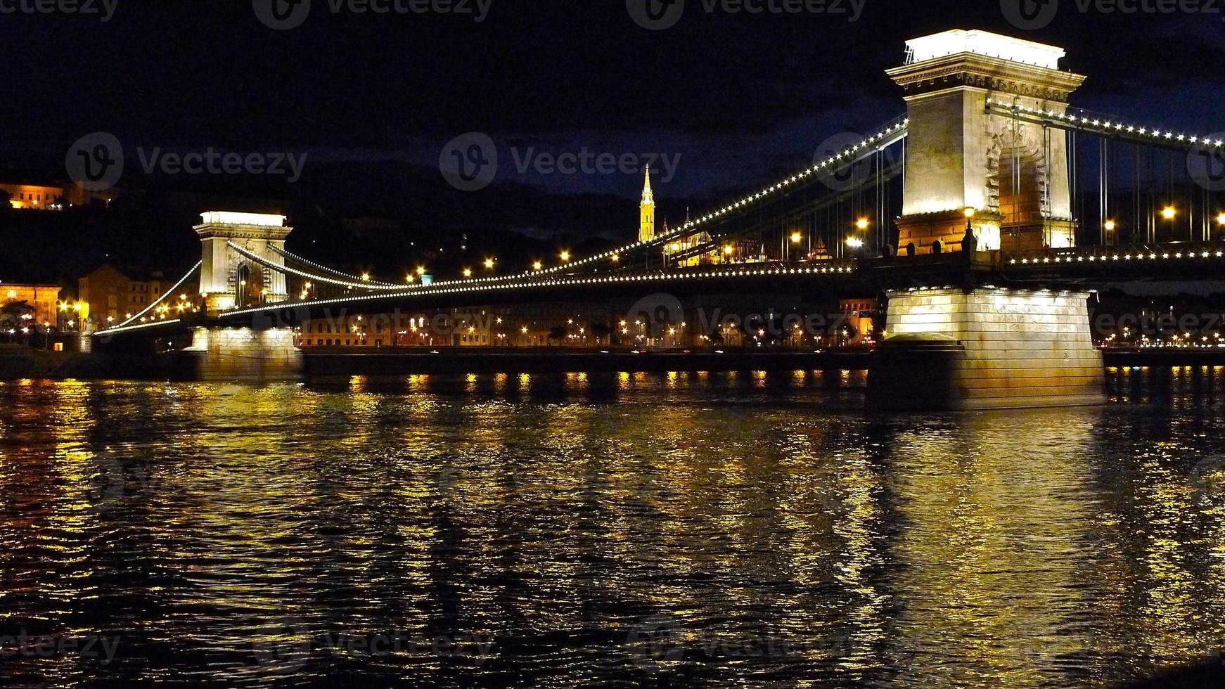Chaîne, Pont, Hongrie, Pont aux Chaînes, Nuit, Budapest photo
